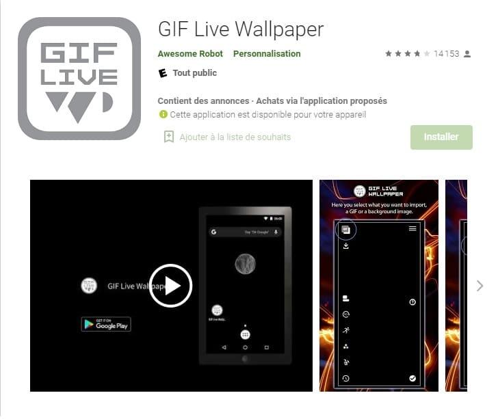 Utiliser l'application GIF Live Wallpaper